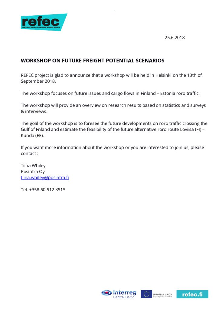 thumbnail of Newsletter 2 Workshop on future freight potential 18 Oct 2018_OK
