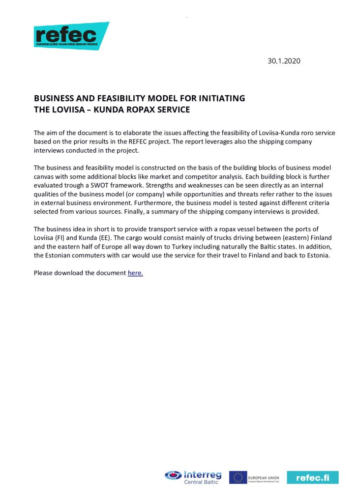 thumbnail of Newsletter 12 Business and feasibility model 15 May 2020