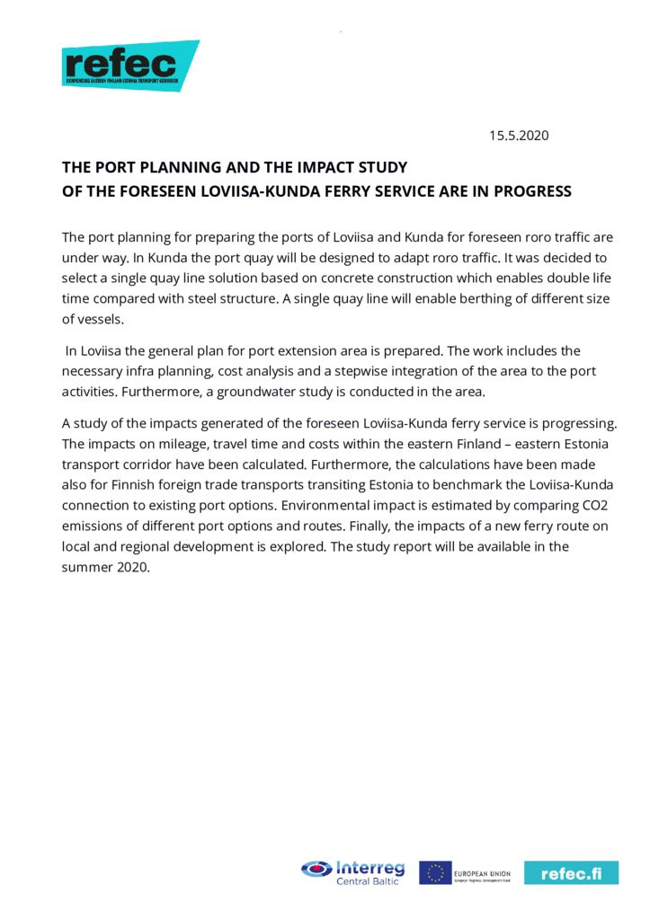 thumbnail of Newsletter 13 Port planning and impact study 15 May 2020